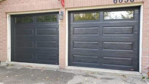 Black single garage doors replaced in Mississauga by Pro Entry
